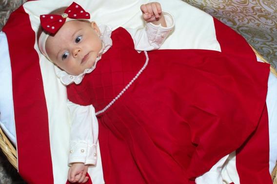 Saida De Maternidade Menina Vermelha 05 Peças - Linda