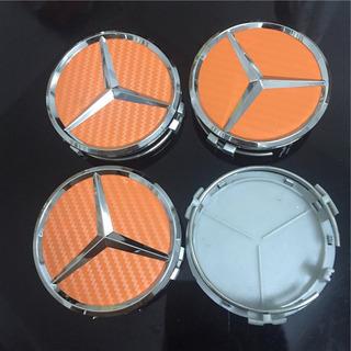 4 Unids 75 Mm Fibra Carbono Rueda Coche Centro Cubo Emblema