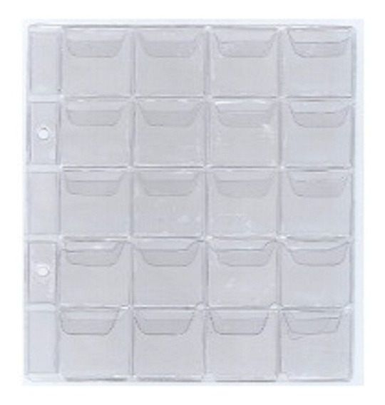 Plastico Kit 10 Folhas Pequena Moeda 20 Divisões 2 Furos Aba