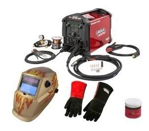 Paquete Maquina Multiprocesos Mig, Tig, Tublar Y Stick Con Careta, Antichispa Y Guante Para Soldador Rf501183