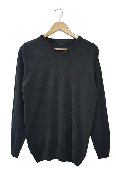 Sweater Esc V Melange Bordado Marca | Bravo Jeans (28231)