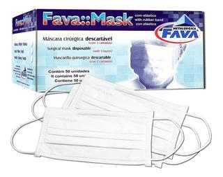 Máscara Proteção Tripla Branca Descartável C/ 50 Unid Fava