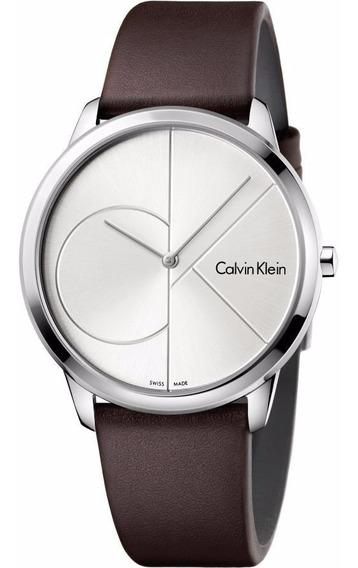 Reloj Calvin Klein K3m211g6 Minimal Hombre Piel Marrón-plata