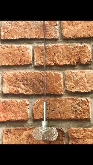 Pendente De Cristal,dimensão 13x13,70cm Altura,base De Inox