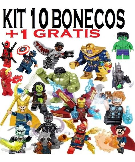 Kit 10 Bonecos+1 Gratis Marvel Lego Vingadores E Dc Herois