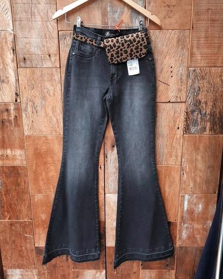 Calça Jeans Maxi Flare Carbono
