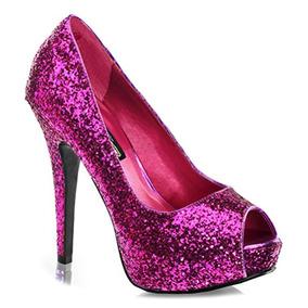 5 1 4 Brillo Peep To Pumps High Heel Calzado