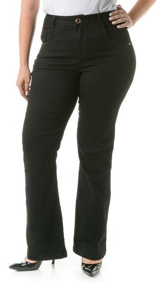 Calça Feminina Jeans Semi Flare Plus Size Caj196