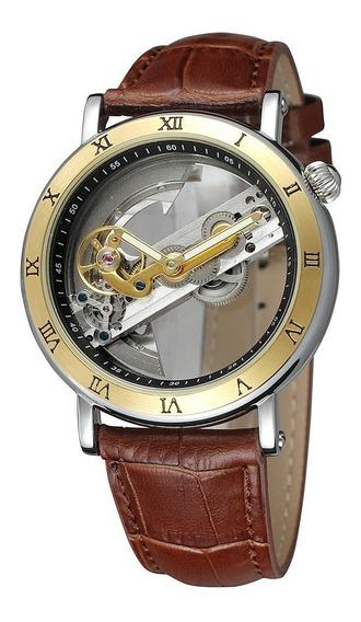Relógio Analógico Automático Maquinário Totalmente Visível