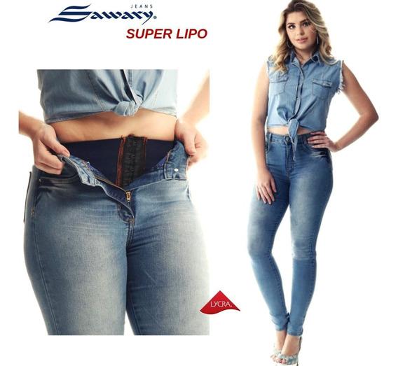 Calça Jeans Feminina Super Lipo Sawary Cintura Super Alta