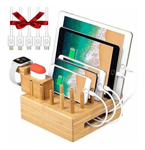 Organizador De Estacion De Carga De Bambu Para Multiples Dis