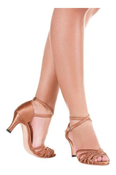 Sandália De Dança Salto 7cm-só Dança-solado Camurça-bl68