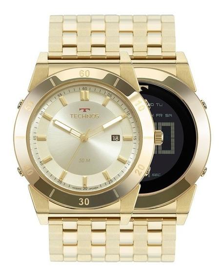 Relógio Technos Masculino Duas Faces 1s13cq/4x Dourado
