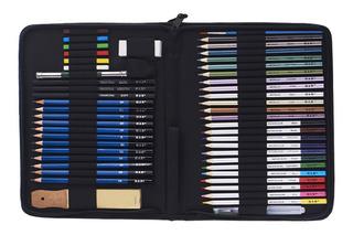 Kit Profesional De Dibujo Con Lápices H Y B, 51 Piezas