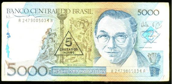 5 Cruzados Novos 1989 Brasil Veja + Cédulas Notas Antigas