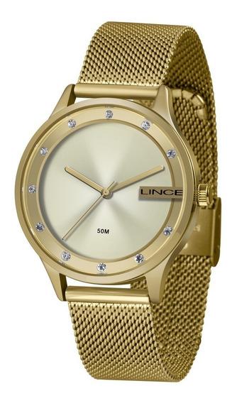 Relógio Dourado Feminino Analógico Lince Lrg4623l C1kx