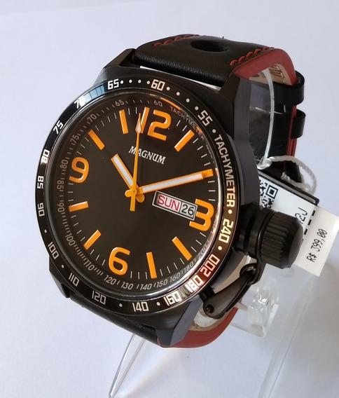 Relógio Masculino Magnum Preto Pulseira Couro Ma31542j