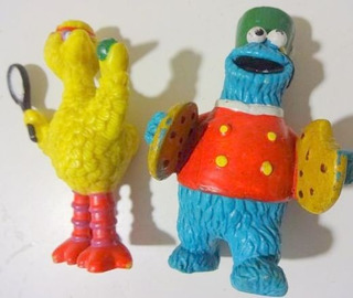 Cookie Monster Músico + Big Bird Tenista Plaza Sesamo Muppet