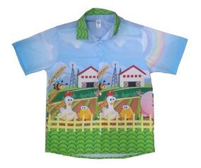 Kit Mãe Pai E Filha Fazendinha Rosa Infantil Vestido Camisa