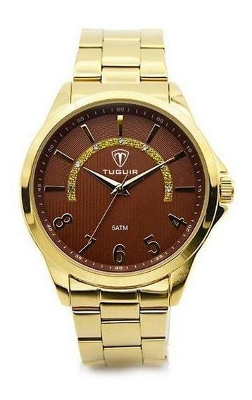 Relógio Feminino Dourado Original Tuguir Na Promoção