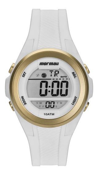 Relógio Branco Digital Feminino Dourado Mormaii Pulseira Silicone Leve Mo3800aa/8b Original