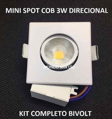 10pcs Mini Spot Led Cob 3w Direcionavel Quadrado Frio 6000k