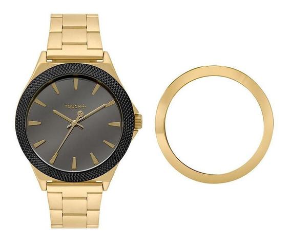 Relógio Touch Unissex Pãe Dourado