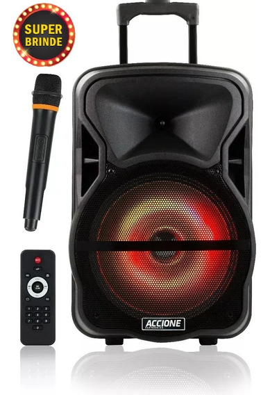 Caixa De Som Amplificada Accione Cam 600 Bt Com Bateria, Microfone E Led Colorido E Led