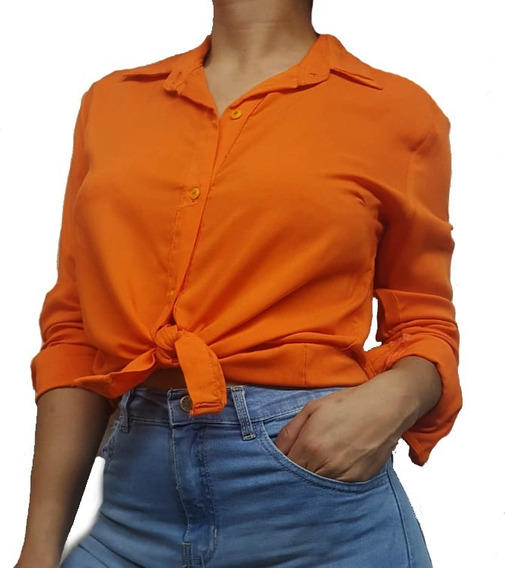 Camisa De Mujer Corte Clásico Recto En Fibrana