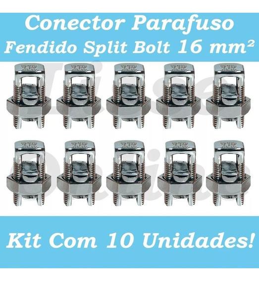 10pçs Conector Parafuso Fendido Cabos Fios 16mm Split Bolt
