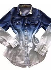 Camisa Blusa Feminina Jeans Frio Manga Longa Blogueiras 2508