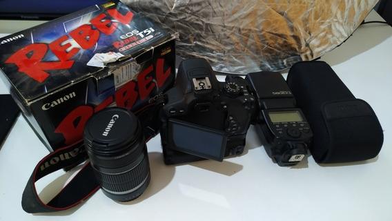 Câmera T5i+ Lente 55-250+flash+grip+ 2 Baterias+ Rebatedor.
