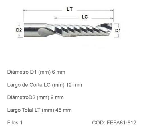 Fresa Espiralada Facetada Cnc 6mm 1 Filo Aleacion Alum