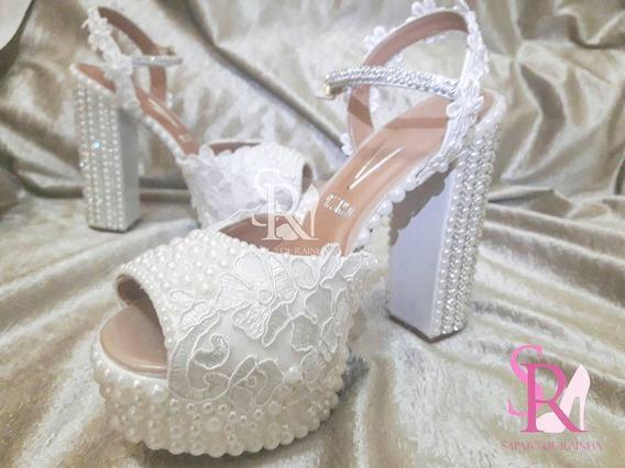 Sandalia De Noiva / Casamento Meia Pata Renda E Perolas