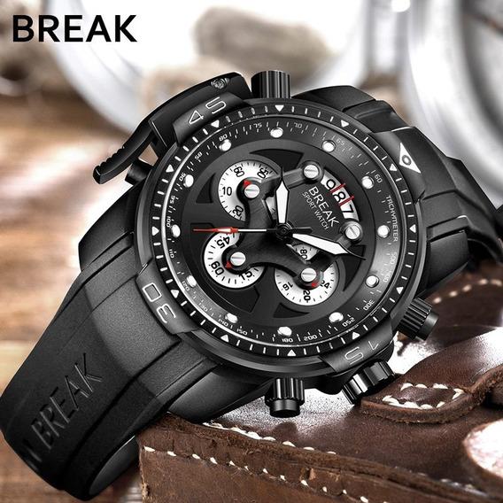 Reloj Hombre Break De Lujo, Militar Y Deportivo, Análogo B56