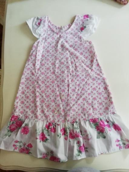 Vestido De Nena Soñado Con Flores. Volado Y Mangas En Compos