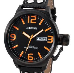 Relógio Magnum Preto Masculino Couro Ma31524l C/ Nota