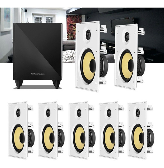 Kit Home Theater 7.1 Jbl Caixa De Embutir Ci8r + Sub 210