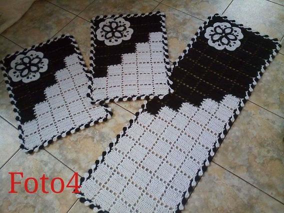 Jogo De Tapete Com 3 Peças Em Crochê