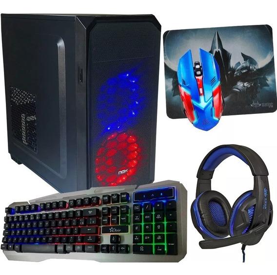 Pc Gamer Intel Quadcore 4gb/ Hd500 Placa Geforce + Kit Gamer