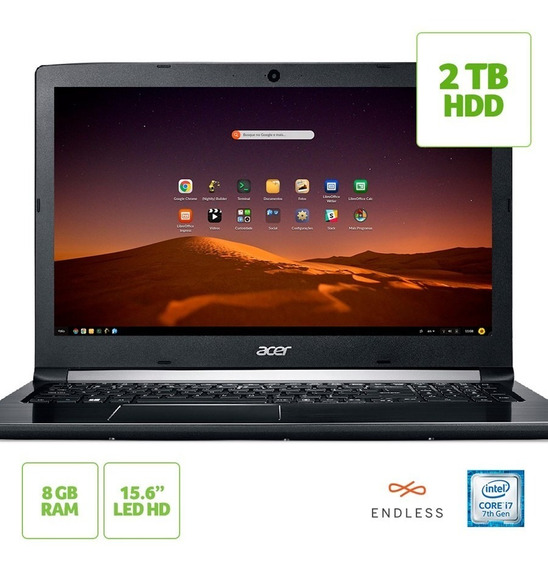 Notebook Acer Aspire 5 A515-51-74za Intel Core I7-7500u 8gb Hd 2tb Tela 15.6 Hd Linux Endless Os