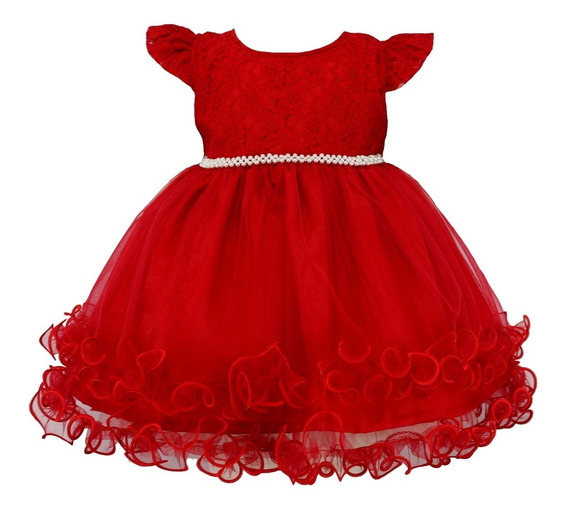 Vestido Infantil Festa Tam: Pmg Renda Vermelha Katitus 1461