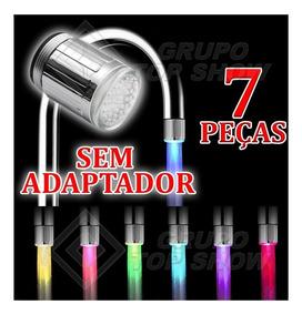7 Peças Torneira Luz Colorida Bico Led Iluminacao Cores 24mm