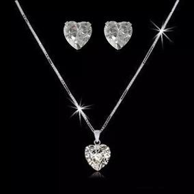 8 X Corrente Feminino Ponto De Luz Brinco Coração Prata 925