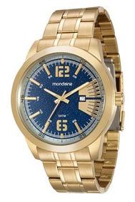 Relógio Mondaine Dourado Fundo Azul 94968 Gpmvda2