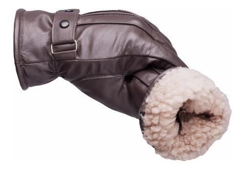 Imagem 1 de 5 de Luva Feminina Masculina Dedo Inteiro Lã Inverno Frio Couro