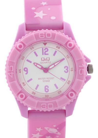 Relógio Infantil Feminino Rosa Pulseira Com Estrela Ponteiro