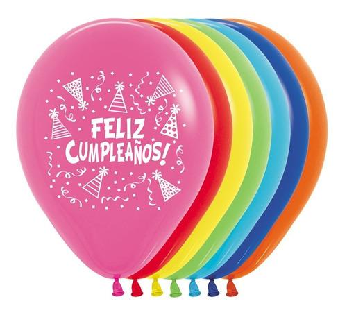 Globo R-12 Sempertex X 50 Feliz Cumpleaños Gorritos Impreso