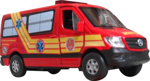 Imagem 1 de 7 de Miniatura Viatura Bombeiros Resgate Ambulância Pm Sp 193