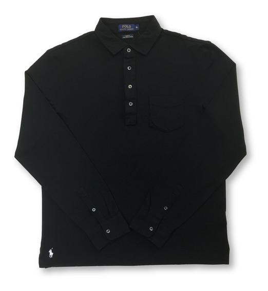 Polo Ralph Lauren Slim Fit Pima Algodón Polo En Negro Con Bo